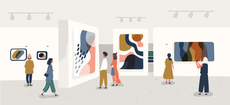 Exhibition visitors viewing modern abstract paintings at contemporary art gallery. People regarding creative artworks or exhibits in museum. Colorful vector illustration in flat cartoon style. Ilustrace