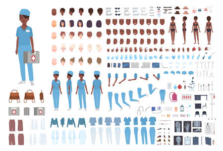 African American female paramedic or nurse constructor. Set of woman's body details, gestures, scrubs isolated on white background. Front, side and back views. Flat cartoon vector illustration