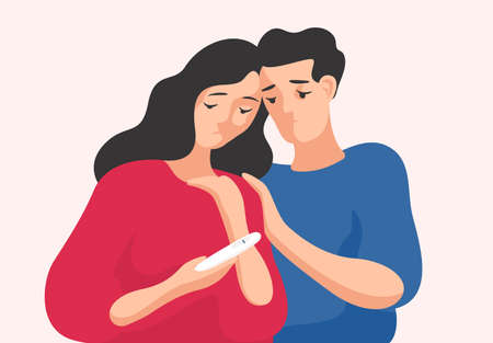 Sad man and woman standing together and looking at pregnancy test showing one line. Infertile couple, fertility problem, trouble conceiving. Colorful vector illustration in flat cartoon style Ilustração