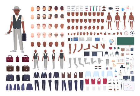 Afro-Amerikaanse school kunstleraar creatie set. Verzameling van mannelijke lichaamsdelen in verschillende poses, kleding geïsoleerd op een witte achtergrond. Voor-, zij-, achteraanzicht. Platte cartoon vectorillustratie