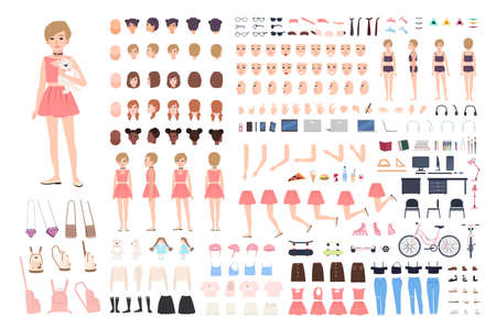 Cute young girl DIY or constructor kit. Bundle of body parts in different postures, facial expressions, girlish clothes and accessories isolated on white background. Flat cartoon vector illustration Ilustração
