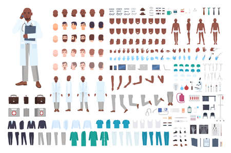 African American male doctor or physician constructor set or DIY kit. Bundle of body parts in different poses, uniform isolated on white background. Front, side and back views. Vector illustration