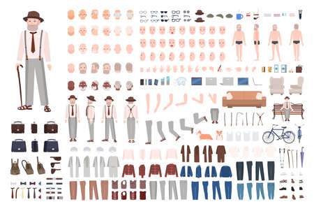 Modern elderly man or grandfather DIY kit. Set of male body parts in different positions, gestures, facial expressions, haircuts, clothes isolated on white background. Cartoon vector illustration Vektoros illusztráció