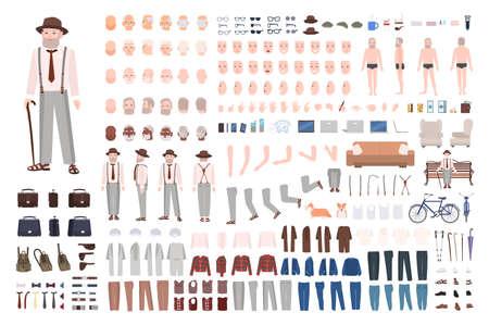 Moderner älterer Mann oder Großvater DIY-Kit. Satz männlicher Körperteile in verschiedenen Positionen, Gesten, Mimik, Haarschnitte, Kleidung einzeln auf weißem Hintergrund. Cartoon-Vektor-Illustration Vektorgrafik