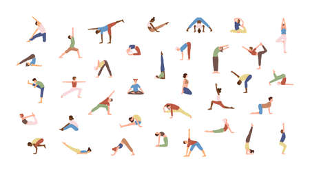 Crowd of tiny people performing yoga exercises. Men and women practicing Asana isolated on white background. Spiritual practice and physical activity. Flat cartoon colored vector illustration