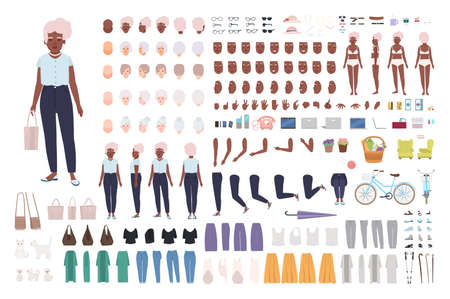 Elegantes Animationsset für alte Damen oder Omas. Bündel weiblicher Körperteile in verschiedenen Posen, Mimik, Haarschnitte, stilvolle Kleidung lokalisiert auf weißem Hintergrund. Flache Karikaturvektorillustration Vektorgrafik