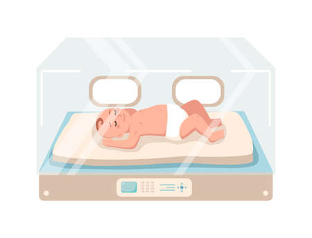 Newborn infant lies inside neonatal intensive care unit isolated on white background. Premature child sleeping in glass incubator box. Baby nursery. Colorful vector illustration in flat cartoon style.