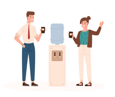 Pair of man and woman standing beside office cooler, drinking water and talking to each other or chatting. Friendly meeting during coffee break. Colorful vector illustration in flat cartoon style