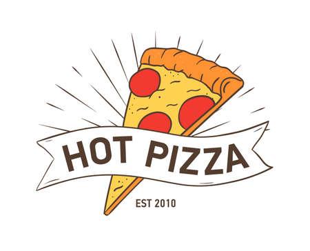 Logotipo elegante con rebanada de pizza y cinta aislada sobre fondo blanco. Ilustración de vector colorido dibujado a mano en estilo retro para etiqueta o logotipo de restaurante italiano, servicio de entrega de alimentos. Logos