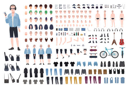Young teenage boy DIY kit. Set of teenager's body parts in different positions, various subcultures' attributes, clothes and accessories isolated on white background. Cartoon vector illustration Vektoros illusztráció