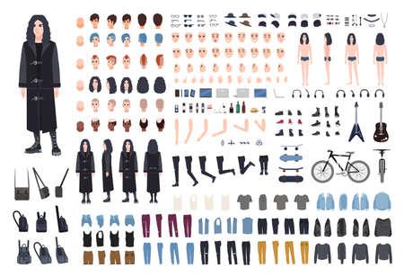 Conjunto de creación rockero gótico o metálico. Colección de partes del cuerpo de un adolescente, atributos de varias subculturas, ropa y accesorios, cortes de pelo aislados sobre fondo blanco. Ilustración vectorial de dibujos animados