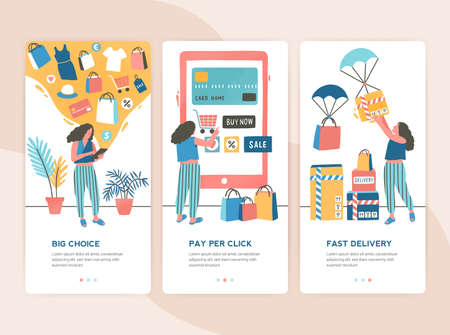 Bundle of vertical web banner templates with stages of online shopping - choice, payment, delivery. Set of scenes with woman buying goods in internet store. Colorful vector illustration in flat style