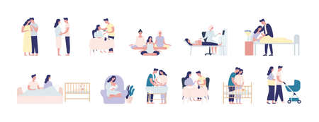 Collection of pregnancy and maternity scenes. Bundle of pregnant woman performing daily activities, visiting physician, caring with man for infant newborn baby. Flat cartoon vector illustration  イラスト・ベクター素材