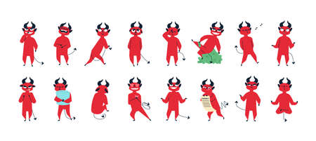 Collection of funny red-skined devil in different postures isolated on white background. Set of cute adorable demon expressing various emotions. Colorful vector illustration in flat cartoon style