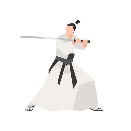 Samurai knight isolated on white background. Fearless ancient Japanese hero wearing kimono, standing in attack pose and holding traditional katana sword. Vector illustration in flat cartoon style. Illustration