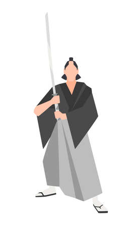 Brave samurai warrior isolated on white background. Courageous Japanese historical character wearing kimono and holding traditional katana sword. Vector illustration in flat cartoon style for logo. Ilustração