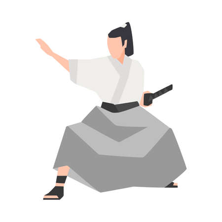 Samurai warrior isolated on white background. Brave Japanese knight wearing kimono, standing in fight position and holding katana sword. Colored vector illustration in flat cartoon style for logotype.