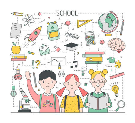 Square Back To School banner template with adorable joyful children, pupils or classmates surrounded by stationery and education symbols. Bright colored vector illustration in modern line art style Illustration