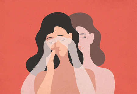 Sad young woman with lowered head and her ghostly twin standing behind and covering her eyes with hands. Concept of self-deception, reality denial, rationalization. Modern flat vector illustration Imagens - 110469048