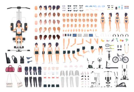 Sportlerin oder Fitnessmädchen DIY Kit. Satz von Körperteilen der Frau, Haltungen, Sportausrüstung, Übungsmaschinen lokalisiert auf weißem Hintergrund. Vorder-, Seiten- und Rückansicht. Karikaturvektorillustration