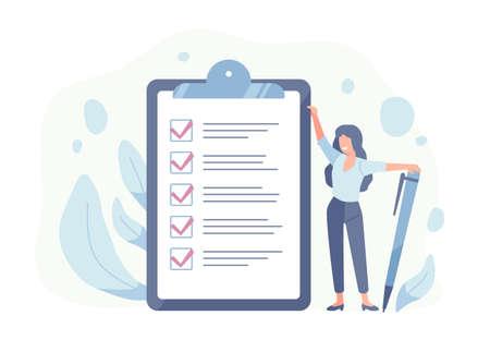 Glückliche Frau, die neben der riesigen Checkliste steht und Stift hält. Konzept der erfolgreichen Erledigung von Aufgaben, effektiven Tagesplanung und Zeitmanagement. Vektorillustration im flachen Karikaturstil.