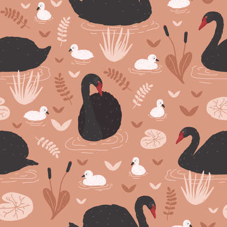 Seamless pattern with black swans and brood of cygnets floating in pond or lake among water lilies and reeds. Backdrop with flock of waterfowl. Flat colorful cartoon vector illustration for wallpaper Illustration