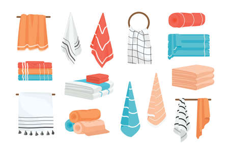 Collection of hand and bath fabric towels rolled, hanging on rail or ring, lying in stack. Bundle of design elements isolated on white background. Colorful vector illustration in realistic style