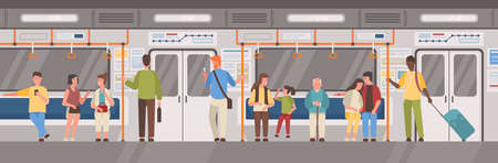 People or city dwellers in metro, subway, tube or underground train car. Men and women in public transport. Male and female characters using rapid transit. Vector illustration in flat cartoon style. Illustration