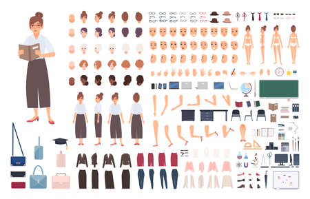 Female school teacher creation kit or DIY set. Bundle of woman's body elements, postures, gestures, clothes isolated on white background. Front, side and back views. Flat cartoon vector illustration