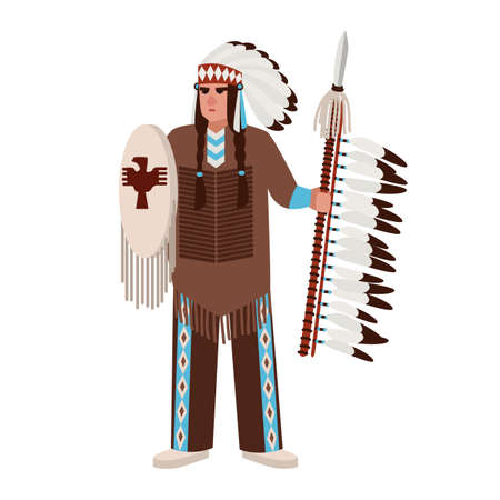 American Indian man wearing war bonnet and traditional clothes and holding spear and shield. Native peoples of America. Male cartoon character isolated on white background. Vector illustration Vectores