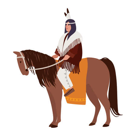 American Indian man wearing ethnic clothes sitting on horse. Horseman or horseback rider. Indigenous peoples of America. Male cartoon character isolated on white background. Vector illustration