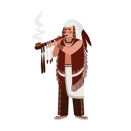 American Indian man wearing traditional clothes smoking ceremonial pipe decorated by feathers. Tribal or clan chief. Native peoples of America. Male cartoon character. Flat vector illustration Vectores