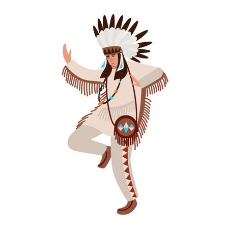 Dancing American Indian wearing ethnic costume and war bonnet. Man performing tribal dance of indigenous peoples of America. Male cartoon character isolated on white background. Vector illustration 스톡 콘텐츠 - 107789620