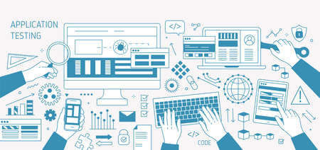 Horizontal banner with hands and various electronic devices drawn with contour lines on white background. Software, program or application testing. Monochrome vector illustration in linear style