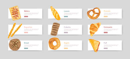 Bundle of web banners with fresh and tasty bread, pastry or baked products and place for text or description. Set of design elements. Vector illustration for bakery promotion, advertisement