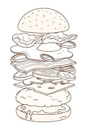 Delicious hamburger with layers or ingredients hand drawn with contour lines on white background. Drawing of burger, sandwich, fast food meal. Monochrome vector illustration in realistic style Illustration