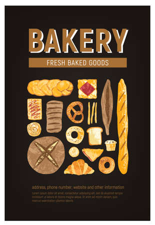 Vertical flyer or poster template with fresh bread, pastry, baked goods of various types and place for text on black background. Vector illustration for bakery or bakeshop promo, advertisement