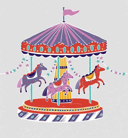 Karuzela, karuzela lub karuzela z uroczymi końmi lub kucykami. Przejażdżka rozrywkowa dla dzieci ozdobiona girlandami z gwiazdami. Kolorowa ilustracja wektorowa w stylu płaskiej kreskówki