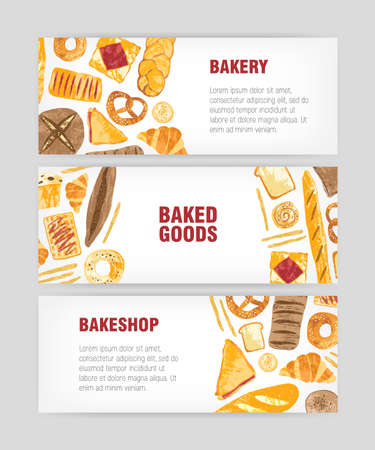 Set of web banner templates with delicious bread, pastry or baked products and place for text on white background. Colorful vector illustration for bakery or bakeshop promotion, advertisement Ilustração