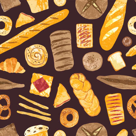 Seamless pattern with delicious breads, sweet pastry, baked products or bakery goods of various types on dark background. Colorful vector illustration for textile print, wallpaper, wrapping paper