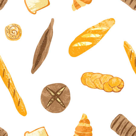 Seamless pattern with tasty breads, dessert pastry, baked products or bakery goods of different types on white background. Colorful vector illustration for fabric print, backdrop, wrapping paper