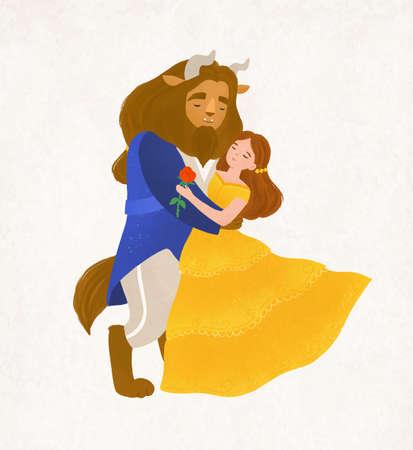 La bella e la bestia ballano il valzer. Giovane donna e creatura stregata dal racconto magico. Adorabili personaggi delle fiabe isolati su sfondo bianco. Illustrazione vettoriale colorato in stile cartone animato piatto
