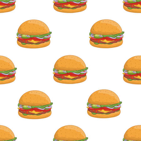 Colorful seamless pattern with tasty hamburgers on white background. Delicious burgers or cheeseburgers, street food meal. Realistic vector illustration for backdrop, fabric print, wrapping paper