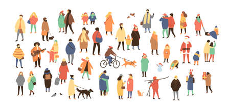 Crowd of tiny people dressed in winter clothes or outerwear walking and performing outdoor activities. Bustle and scurry on city streets before Christmas or New Year. Flat cartoon vector illustration