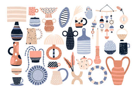 Bundle of modern ceramic household utensils and tools or pottery - cups, dishes, bowls, vases, jugs. Set of items for home decoration isolated on white background. Flat cartoon vector illustration