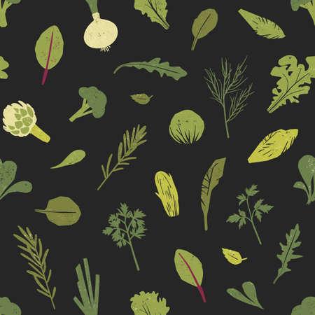 Patrón sin fisuras con plantas verdes, hojas de ensalada y hierbas de especias sobre fondo negro. Telón de fondo con comida vegana o vegetariana saludable. Ilustración de vector de color para impresión de tela, papel de regalo Ilustración de vector