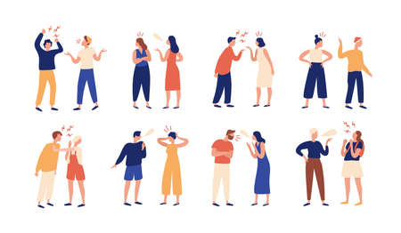 Collection of pairs of people during conflict or disagreement. Set of men and women quarreling, brawling, bickering, shouting at each other. Colorful vector illustration in flat cartoon style