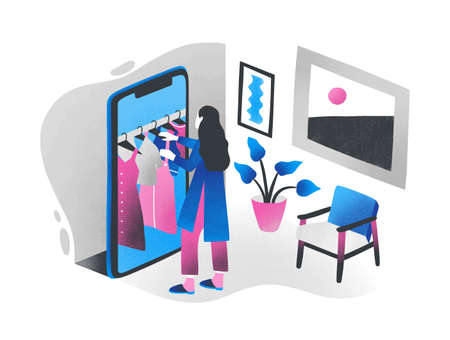 Woman standing in front of giant smartphone and choosing clothes hanging on hanger rail inside it. Concept of online shopping, internet retail, digital store. Colorful isometric vector illustration 일러스트