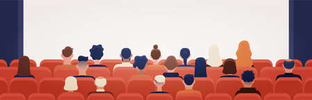 People sitting in movie theater or cinema hall and looking at projection screen. Man and women watching film or motion picture. Back view. Colorful vector illustration in flat cartoon style Vektoros illusztráció