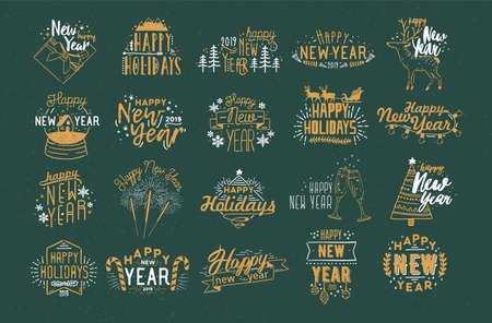Bündel festlicher Happy New 2019 Year-Inschriften, handgeschrieben mit kreativen kalligraphischen Schriftarten und verziert mit Feiertagselementen - Kugeln, Feuerwerk, Girlanden, Schneeflocken. Vektorillustration